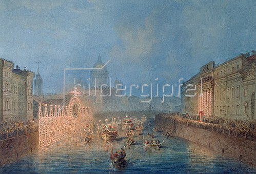 Wassily Sadovnikov: Festbeleuchtung und Regatta auf der Mojka in St.Petersburg. 1856.