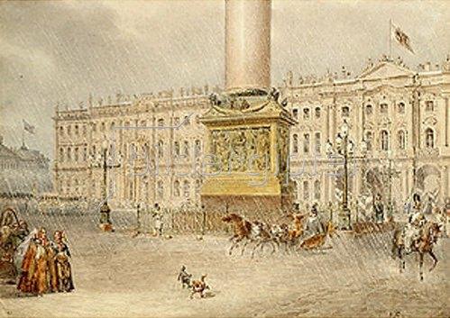 Wassily Sadovnikov: Palastplatz in St.Petersburg. 1830-er Jahre.