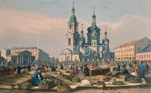 Ferdinand Perrot: Der Heumarkt in St.Petersburg. 1840-er Jahre.