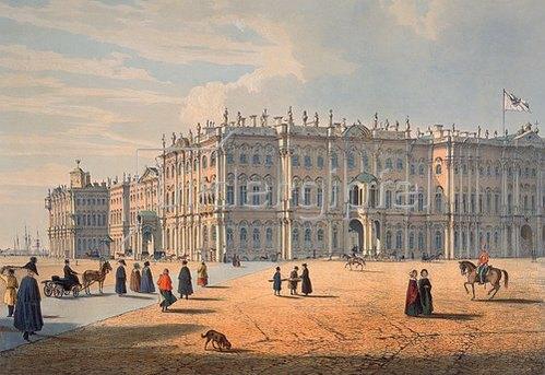 Ferdinand Perrot: Blick von der Palast-Passage in St.Petersburg auf den Winterpalast. Um 1840