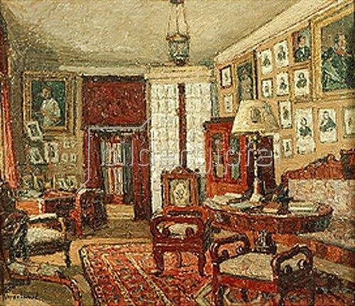 Pjotr Petrowitschev: Das Lesezimmer im Hause des Dichters E. Boratinskij. 1933.