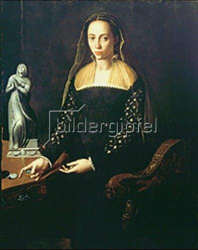 Agnolo Bronzino: Bildnis einer Edeldame in Schwarz.