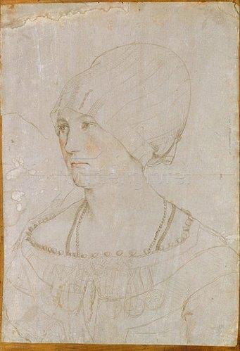 Hans Holbein d.J.: Dorothea Kannengiesser. Vorzeichnung zum Gemälde von 1516.