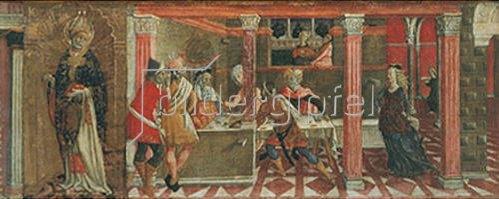 Giovanni di Bartolo Matteo: Der Tanz der Salome und Bildnis des Hl. Paulus. Predella eines Altars. Um 1461.