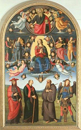 Perugino (Pietro Vanucci): Die Himmelfahrt Mariae, umgeben von Engeln und Heiligen.