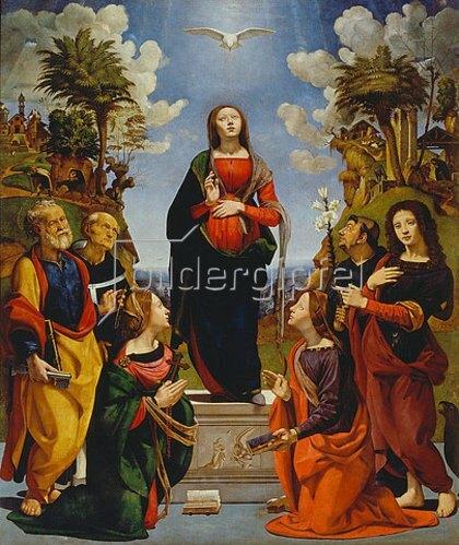 Piero di Cosimo: Mariae unbefleckte Empfängnis, umgeben von sechs Heiligen. 1485/1490 und 1505.