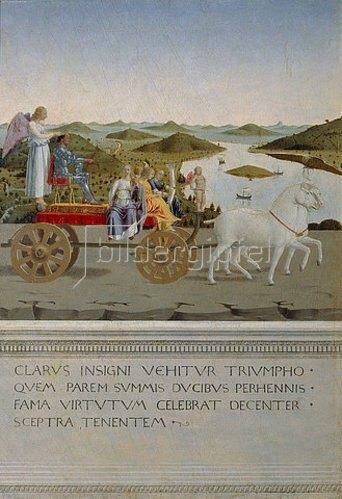 Piero della Francesca: Von zwei Schimmeln gezogener Triumphwagen. Rückseite des Portr. Der Battista Sforza