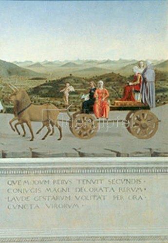 Piero della Francesca: Von zwei Einhörnern gezog. Triumphwagen. Rückseite des Portraits von F.da Montef