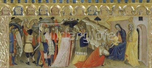 """Pietro di Miniato: Die Anbetung der Könige. Predella des Polyptichons """"Krönung Mariae"""". 1410"""