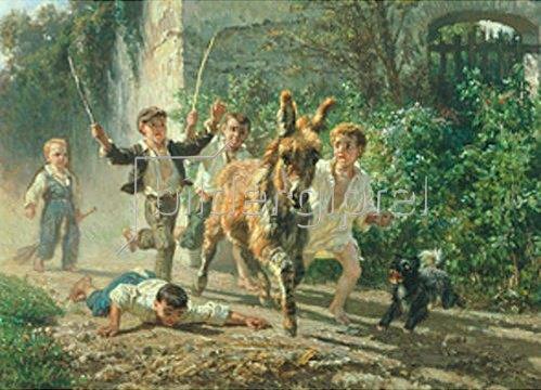Filippo Polizzi: Kinder jagen einen Esel.