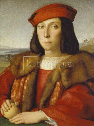 Raffael (Raffaello Sanzio): Jugendbildnis des Francesco della Rovere mit einem Apfel. Ca. 1500