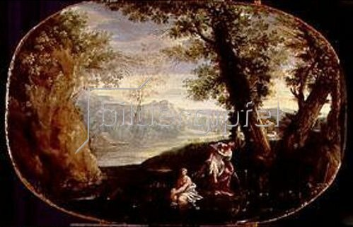 Annibale Carracci: Landschaft mit badenden Frauen. Um 1590