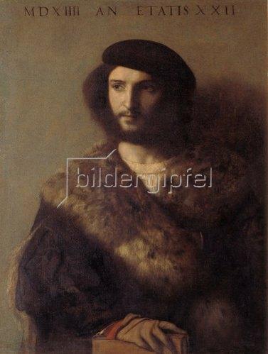 Tizian (Tiziano Vecellio): Bildnis eine kranken Mannes im Pelz. 1514(?).