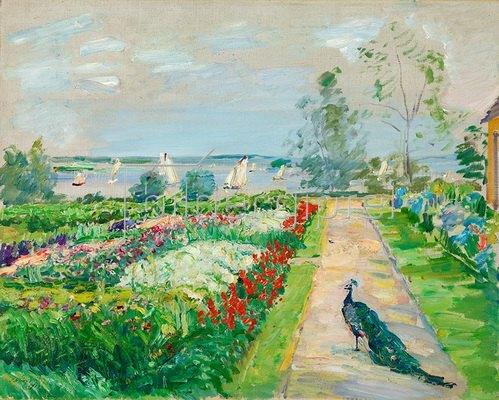 Max Slevogt: Park am Wannsee (Blumengarten mit Pfau). 1912