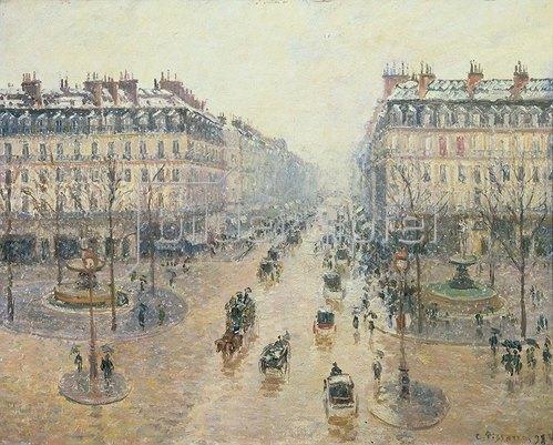 Camille Pissarro: Die Avenue de l`Opera an einem Wintermorgen, 1898