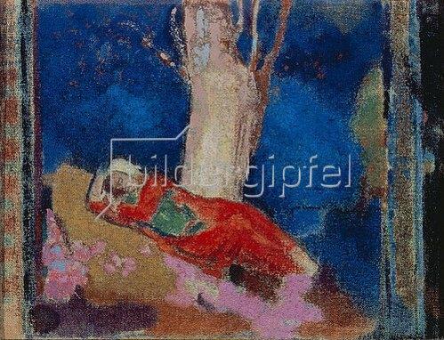 Odilon Redon: Frau, unter einem Baum liegend.