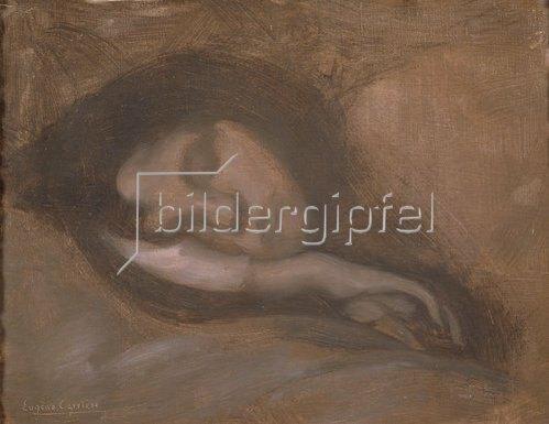 Eugène Carrière: Gesicht einer schlafenden Frau.