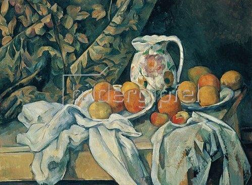 Paul Cézanne: Früchtestillleben mit Vorhang. 1894/95