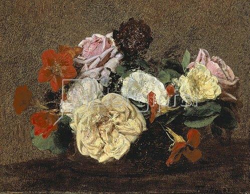 Henri de Fantin-Latour: Rosen und Kapuzinerkresse in einer Vase. 1883
