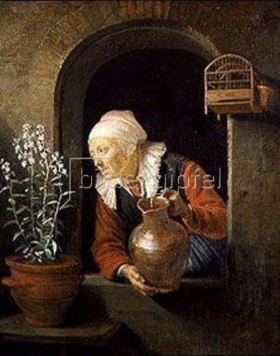 Gerrit (Gerard) Dou: Alte Frau am Fenster, Blumen begießend
