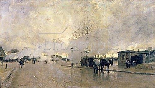 Luigi Loir: Morgendliche Pariser Straße mit Dampfwolken. 1885