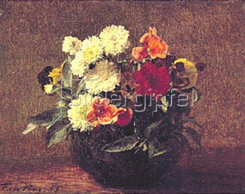 Henri de Fantin-Latour: Blumenstrauß in Steingutkrug. 1883