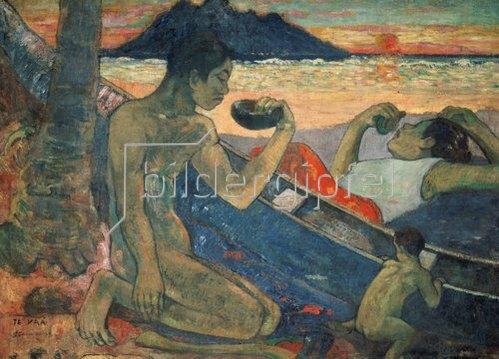 Paul Gauguin: Das Kanu; Familie auf Tahiti. 1896