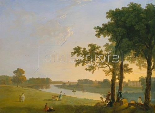 Richard Wilson: Blick über die Themse bei Kew Gardens auf Syon House. Um 1760/1770