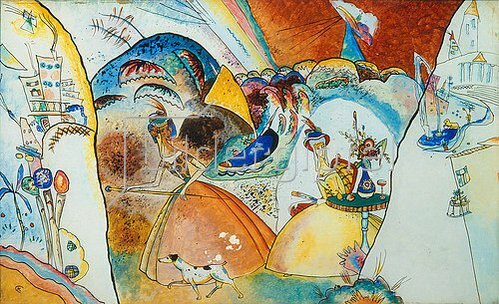 Wassily Kandinsky: Damen in Reifröcken. 1918.