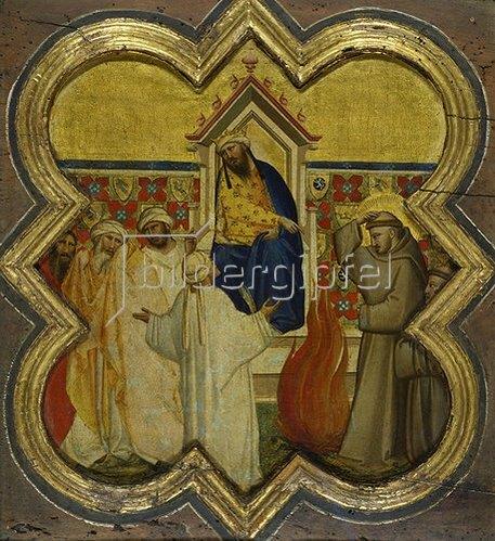 Taddeo Gaddi: Der heilige Franziskus bietet dem Sultan die Feuerprobe an. Gegen 1340