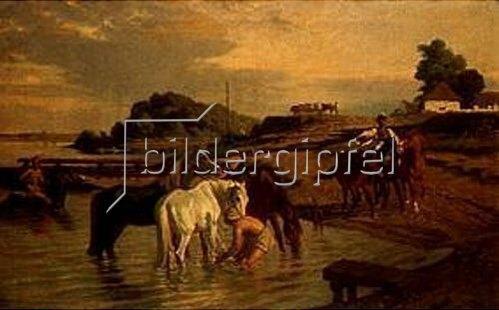 Károly Lotz: Pferde an der Theiss