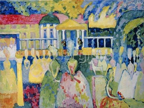 Wassily Kandinsky: Damen in Reifröcken. 1909.