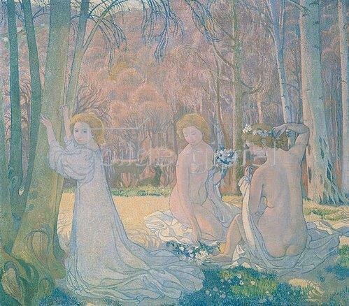 Maurice Denis: Junge Frauen in Frühlingslandschaft. 1897.