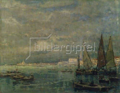 Karl Hagemeister: Blick auf Venedig mit Segelbooten.
