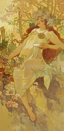 """Alfons Mucha: Herbst. (Aus der Serie """"Jahreszeiten""""). 1896."""