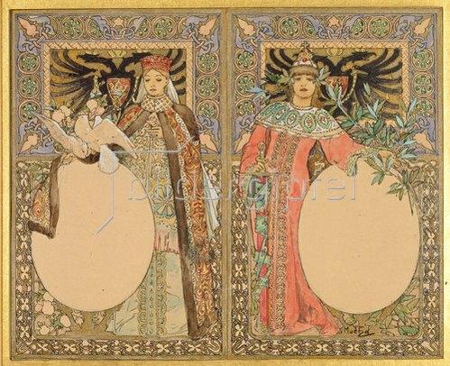 Alfons Mucha: Buch-Illustration mit Frauen in Tracht. Um 1890.