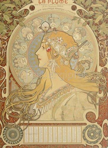 """Alfons Mucha: Sternkreiszeichen. Illustration für das Journal """"La Plume"""". 1897."""