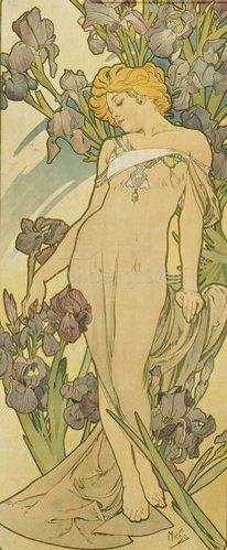 """Alfons Mucha: Iris. (Aus der Serie von Dekorationstafeln """"Blumen). 1898."""