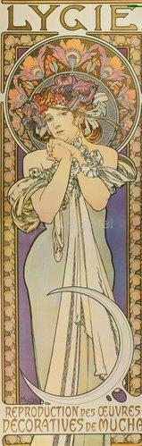 """Alfons Mucha: Plakat für die Tanzgruppe """"Lygie"""" Paris. 1901. (oberer Teil)."""