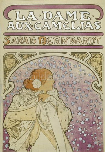 "Alfons Mucha: Plakat für Alexandre Dumas ""Die Kameliendame"" (oberer Teil). 1896."