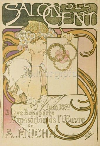 Alfons Mucha: Plakat für die Ausstellung 'A. Mucha' im 'Salon des Cent'. 1897
