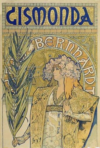 Alfons Mucha: Plakat: Sarah Bernhardt als 'Gismonda' im Theater de la Renaissance (oberer Teil). 1895