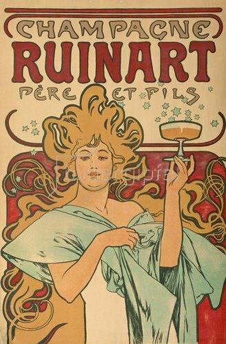"""Alfons Mucha: Werbeplakat für """"Champagne Ruinart"""" Paris. 1897."""