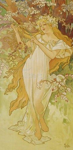 """Alfons Mucha: Frühling (aus der Serie """"Jahreszeiten""""). 1896."""
