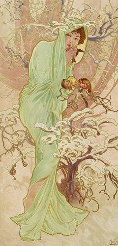 """Alfons Mucha: Winter (aus der Serie """"Jahreszeiten""""). 1896."""