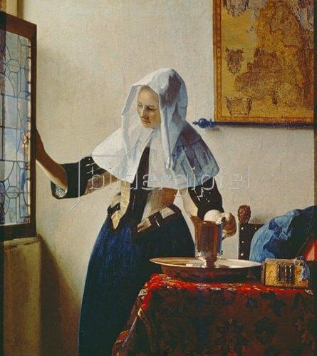 Jan Vermeer van Delft: Junge Frau mit Wasserkrug am Fenster. Um 1663