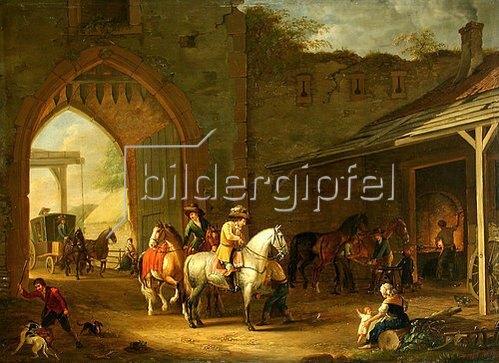 Johann Georg Pforr: Reiter vor einer Hufschmiede.