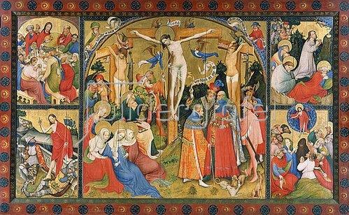 Konrad von Soest: Altarflügel - Mitte: Kreuzigung Christi, o.li.: