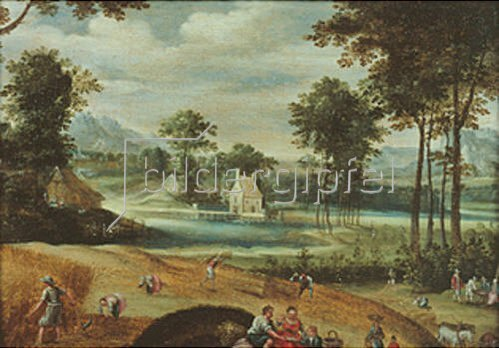 Jacques Fouquier: Landschaft mit Getreide-Ernte.