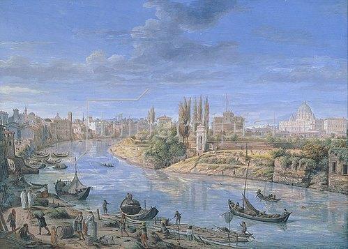 Gaspar Adriaens van Wittel: Ansicht von Rom mit dem Tiber.